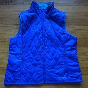 L.L. Bean Reversible Quilted Vest L Blue